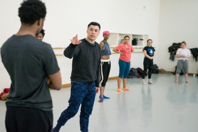 Victor Quijada of RUBBERBANDance and Hip Hop students