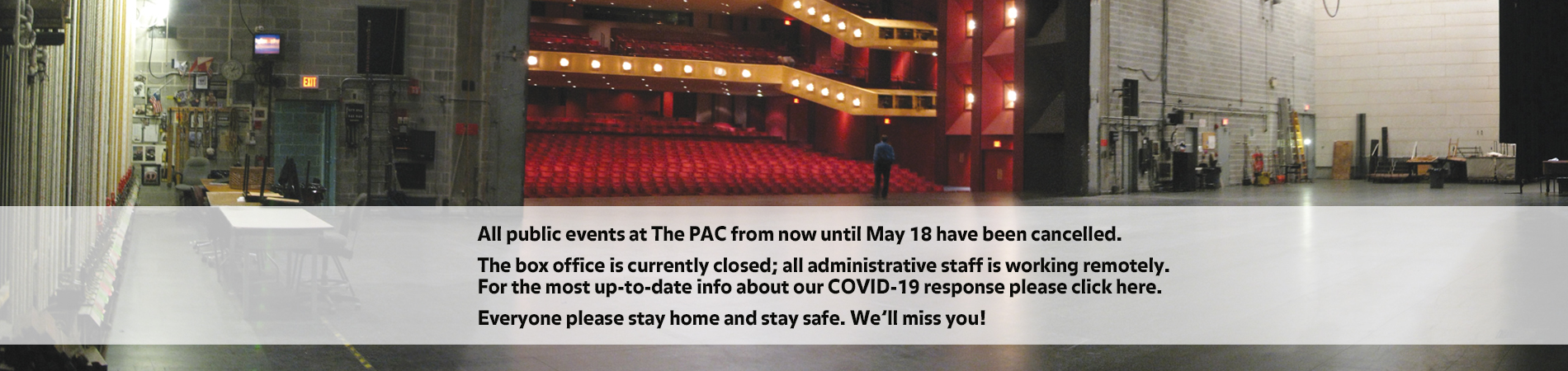 Concert Hall stage with event cancellation notice