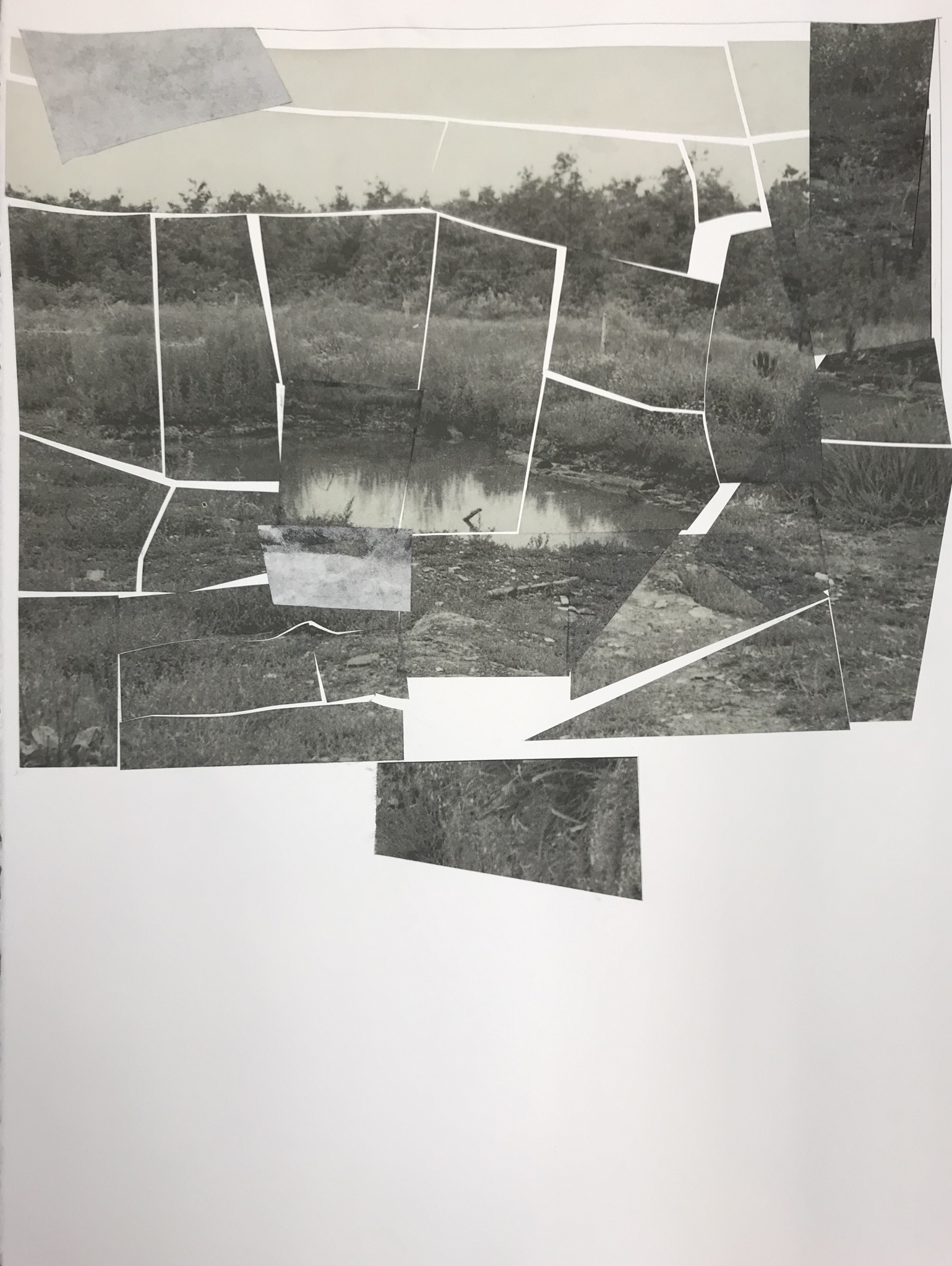 "Leo Hodson, Incineration, 2020, Cut-and-pasted paper and pencil on paper, 22x30"", Image Courtesy of the Artist"