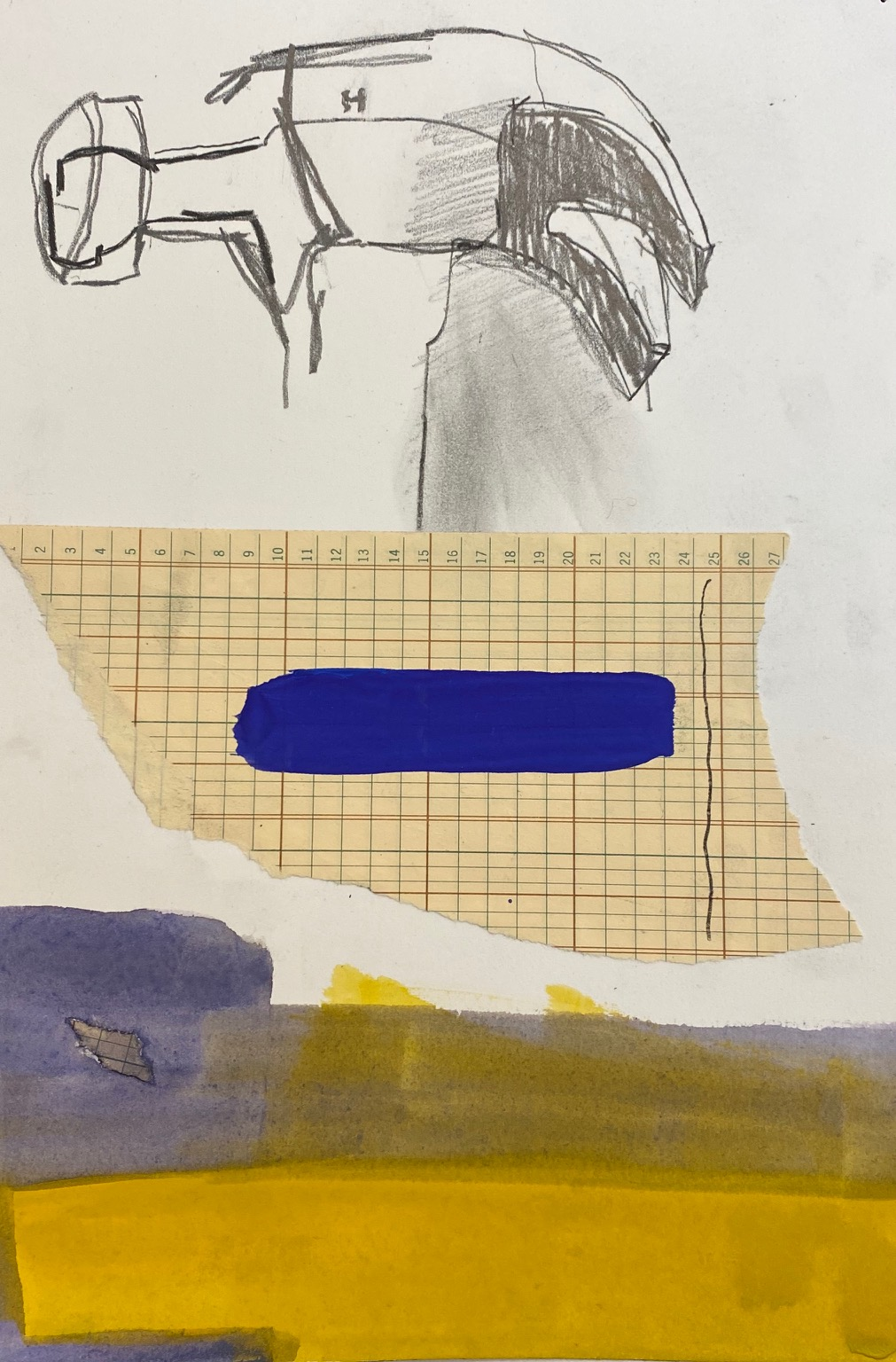 "Leo Hodson, H, 2020, Cut-and-pasted paper, gouache, pencil, 7x10"", Image Courtesy of the Artist"