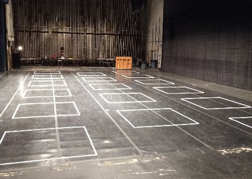 PepsiCo Theatre stage with social distancing squares