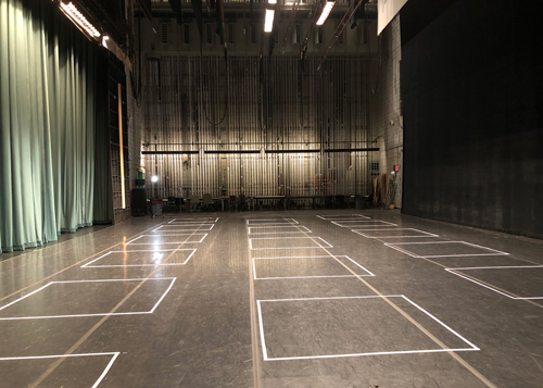 Recital Hall stage with social distancing squares