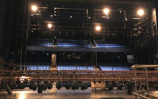 Setting up lights in PepsiCo Theatre