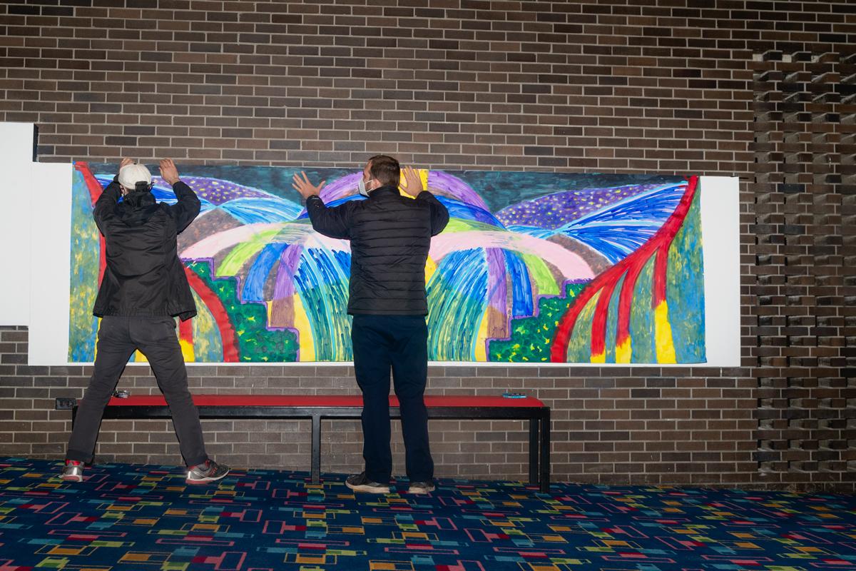 "David Mcdonough installing ""Untitled"""