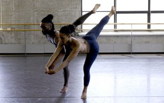 """Chalvar Monteiro and Jacquelin Harris rehearsing excerpts from Merce Cunningham """"Landrover"""" in the John Cage and Merce Cunningham Studio at Baryshnikov Arts Center"""